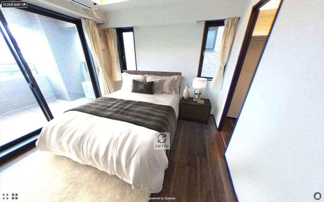 寝室のバーチャルホームステージングの例